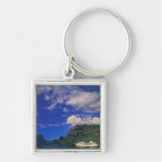 French Polynesia, Moorea. Cooks Bay. Cruise ship 3 Silver-Colored Square Keychain