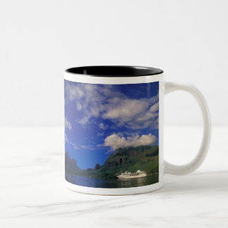 French Polynesia, Moorea. Cooks Bay. Cruise ship 3 Two-Tone Coffee Mug