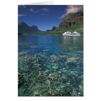 French Polynesia, Moorea. Cooks Bay. Cruise ship Card
