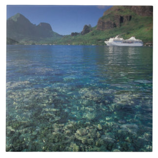 French Polynesia, Moorea. Cooks Bay. Cruise ship Large Square Tile