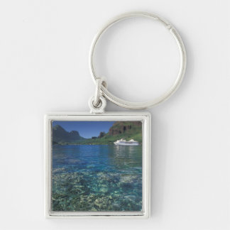French Polynesia, Moorea. Cooks Bay. Cruise ship Silver-Colored Square Keychain