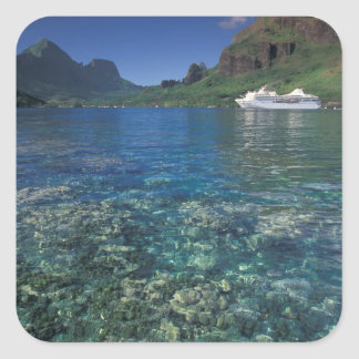 French Polynesia, Moorea. Cooks Bay. Cruise ship Square Sticker