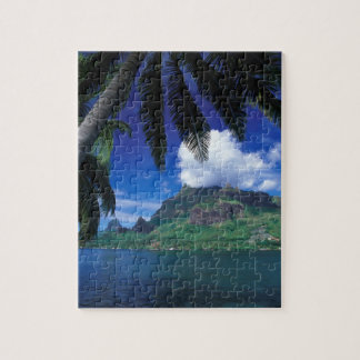 French Polynesia, Moorea. Cooks Bay. Green Jigsaw Puzzle