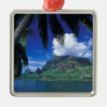 French Polynesia, Moorea. Cooks Bay. Green Square Metal Christmas Ornament