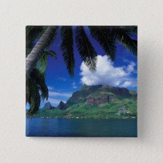 French Polynesia, Moorea. Cooks Bay. Green Pinback Button