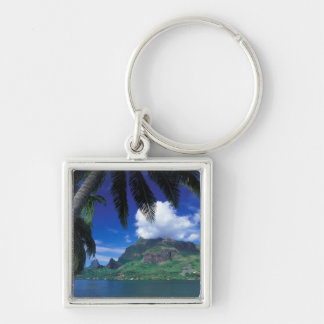 French Polynesia, Moorea. Cooks Bay. Green Silver-Colored Square Keychain
