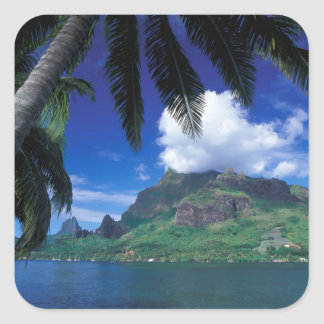 French Polynesia, Moorea. Cooks Bay. Green Square Sticker