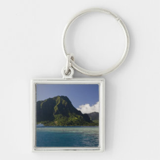 French Polynesia, Moorea. The Paul Gauguin Silver-Colored Square Keychain