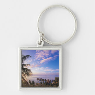 French Polynesia, Moorea. View of the Baie de Silver-Colored Square Keychain