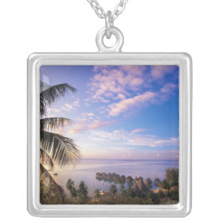 French Polynesia, Moorea. View of the Baie de Silver Plated Necklace