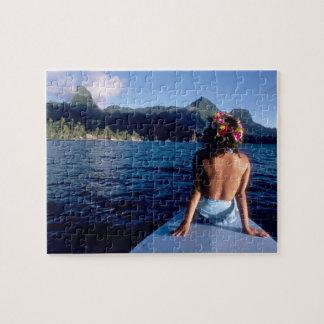 French Polynesia, Moorea. Woman enjoying view on Jigsaw Puzzle