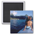 French Polynesia, Moorea. Woman enjoying view on 2 Inch Square Magnet