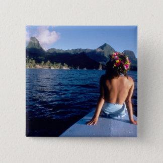 French Polynesia, Moorea. Woman enjoying view on Pinback Button