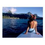 French Polynesia, Moorea. Woman enjoying view on Post Card