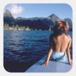 French Polynesia, Moorea. Woman enjoying view on Square Sticker