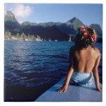 French Polynesia, Moorea. Woman enjoying view on Large Square Tile