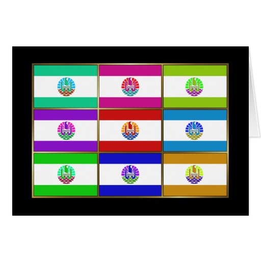 French Polynesia Multihue Flags Greeting Card