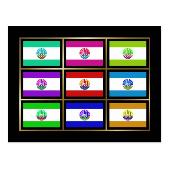 French Polynesia Multihue Flags Postcard