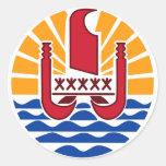 French Polynesia PF Round Sticker