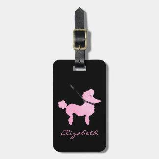 French Poodle Black Pink Designer Art - Monogram Travel Bag Tags