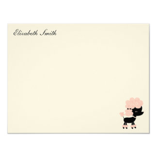 French Poodle Custom Flat Thank You Notes Card