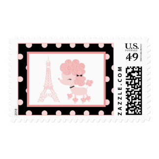 French Poodle Paris Birthday Postage Stamps