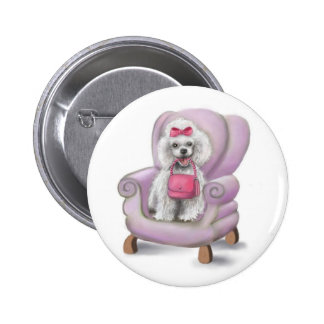 French Poodle Pinback Button