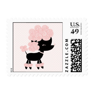 French Poodle Postage Stamp