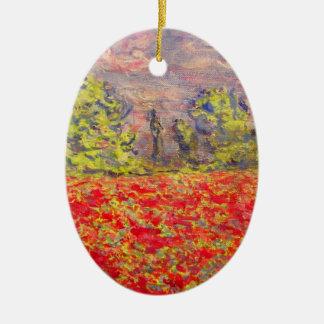 french poppy field art ceramic ornament