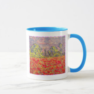 french poppy field art mug