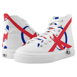 French Portal Designer White Red and Blue Hi-Tops