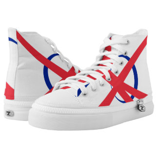 French Portal Fashionable Red White & Blue Hi-Top