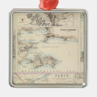 French Portsand Harbours and Plan of Paris Metal Ornament