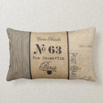 French Postage Burlap Vintage Lumbar Pillow