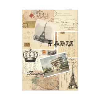 French Postcard Collage Art Canvas Print