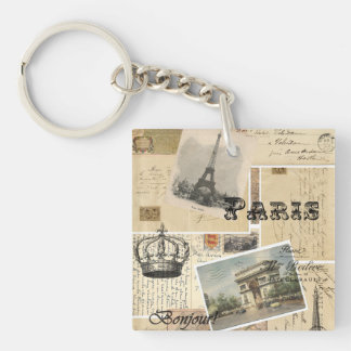 French Postcard Collage Keychain