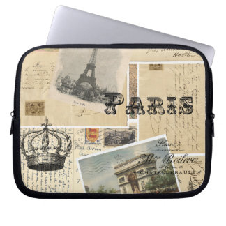 French Postcard Collage Laptop Sleeve