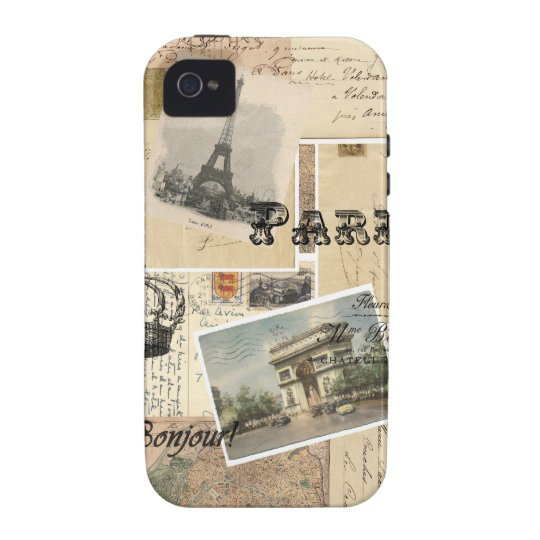 French Postcard Collage Vibe iPhone 4 Case