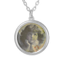 French Postcard Silver Plated Necklace