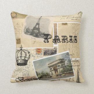 French Postcard Throw Pillow