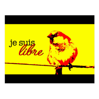 French postcard with a bird on a wire