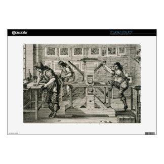 "French printing press, 1642 (engraving) 15"" laptop decal"