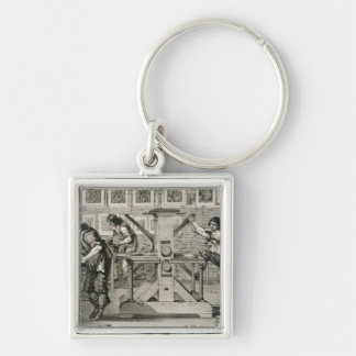 French printing press, 1642 (engraving) keychains