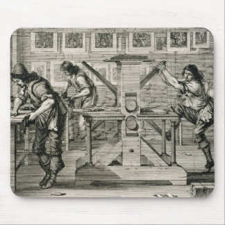 French printing press, 1642 (engraving) mouse pad