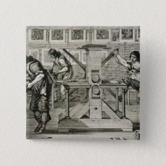 French printing press, 1642 (engraving) pinback button