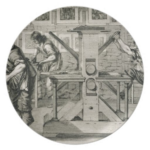 French printing press, 1642 (engraving) plate