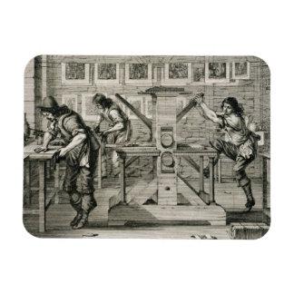 French printing press, 1642 (engraving) rectangular magnet