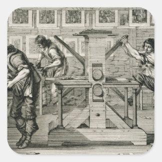 French printing press, 1642 (engraving) square sticker