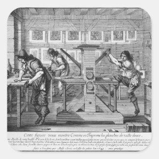 French printing press, 1642 square sticker