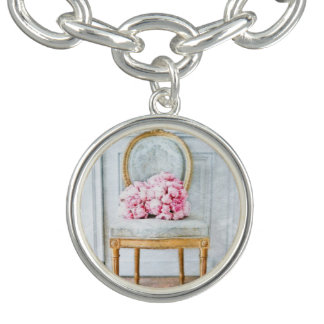 French Provencial Flowers Charm Bracelet